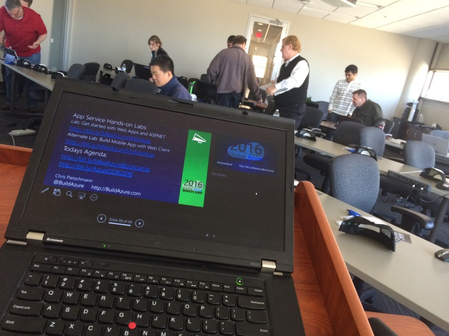 Podium view after Chris Pietschmann finished presenting on Azure App Service